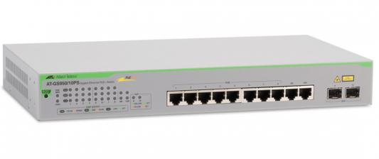 Коммутатор Allied Telesis (AT-GS950/10PS-50) 8-портов 10/100/1000BASE-T PoE+/SFP коммутатор allied telesis at fs708 poe 50 неуправляемый 8 портов 10 100mbps 1xsfpuplink poe