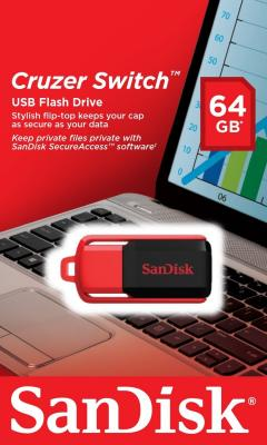 Флешка USB 64Gb SanDisk Cruzer Switch SDCZ52-064G-B35 черно-красный