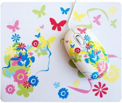 Мышь проводная CBR SET703 Fantasy + коврик белый USB