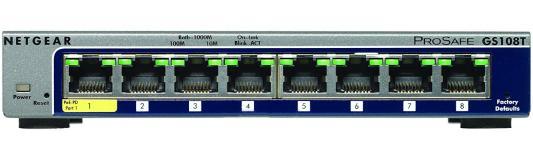 Коммутатор Netgear (GS108T-200GES) Управляемый Smart, 8GE портов, внешниq блоком питания/питание PoE netgear gs108т 200ges