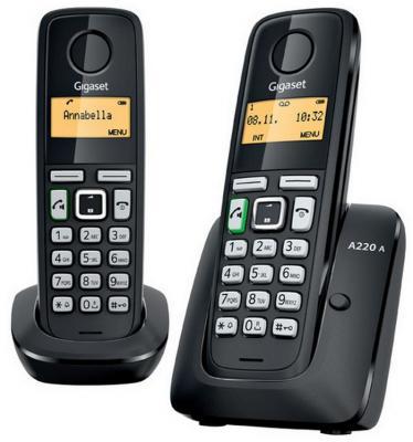 Телефон Dect Gigaset A220 AM DUO RUS (две трубки, автоответчик) Black