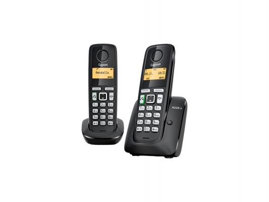Телефон Dect Gigaset A220 AM DUO RUS (две трубки, автоответчик) Black  - купить со скидкой
