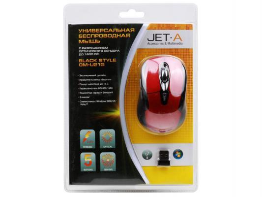 Беспроводная мышь Jet.A Black Style OM-U21G Red