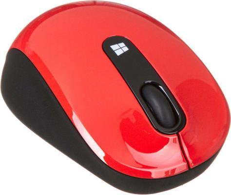 Мышь беспроводная Microsoft Sculpt Mobile Mouse красный чёрный USB 43U-00026 мышь беспроводная microsoft sculpt ergo usb 1000dpi черный l6v 00005