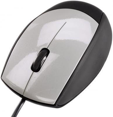 Фото - Мышь проводная HAMA M360 H-52388 серебристый чёрный USB клавиатура проводная hama rossano usb белый серебристый r1050453