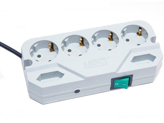 Сетевой фильтр MOST Compact СRG белый 6 розеток 2 м