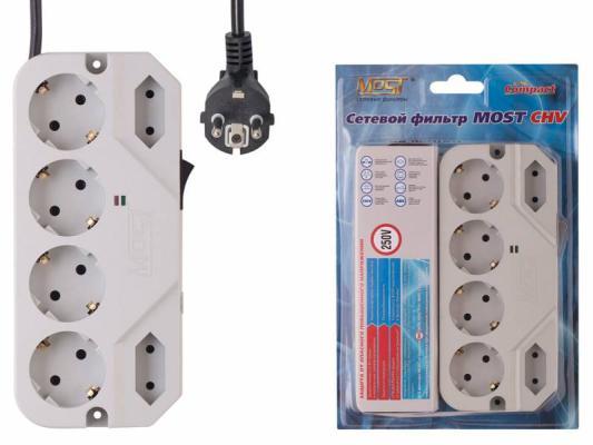 Сетевой фильтр MOST Compact СHV белый 6 розеток 2 м сетевой фильтр most real r 6 розеток 2 м белый