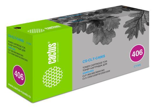все цены на Тонер-катридж Cactus CS-CLT-C406S голубой для Samsung CLP-360/365/CLX-3300/3305 онлайн