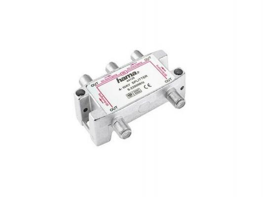 Антенный разветвитель HAMA H-44128 SAT (КРАБ) 1->4 F-штек. (f) 5-2300 МГц 75 Ом серебристый