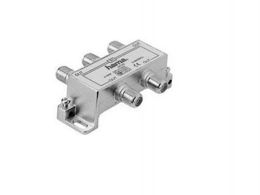 Антенный разветвитель HAMA H-44125 (КРАБ) 1->4 F-штекер (f) 5-860 МГц 75 Ом серебристый