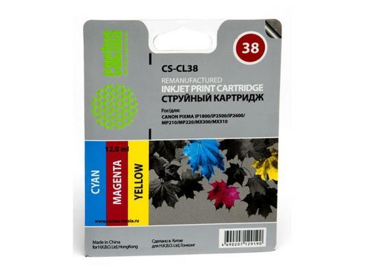 Струйный картридж Cactus CS-CL38 для Canon PIXMA iP1800/iP2500/iP2600 MP210/220 MX300/310 картридж совместимый для струйных принтеров cactus cs pgi29y желтый для canon pixma pro 1 36мл cs pgi29y
