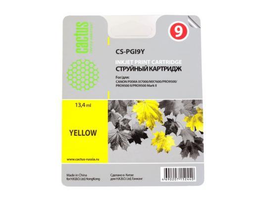 Струйный картридж Cactus CS-PGI9Y желтый для Canon Pixma X7000/MX7600/PRO9500 струйный картридж cactus cs cli521c m y цветной для canon pixma mp540 mp550 mp620 mp630