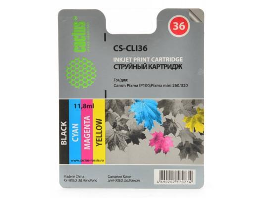 Картридж Cactus CS-CLI36 цветной для Canon Pixma 260 250стр. картридж совместимый для струйных принтеров cactus cs pgi29y желтый для canon pixma pro 1 36мл cs pgi29y