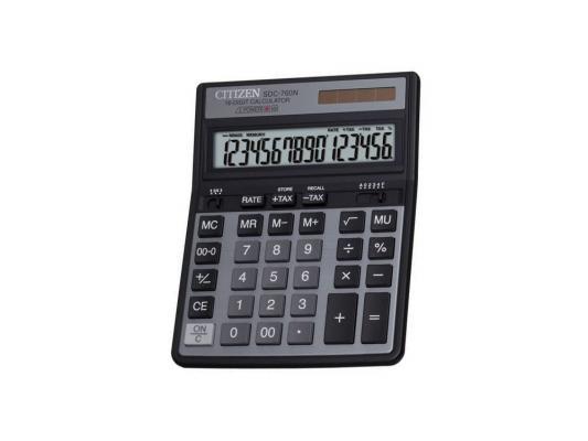 Калькулятор Citizen SDC-760N двойное питание 16 разряда настольный две памяти налог черный SDC760N калькулятор citizen sdc 760n