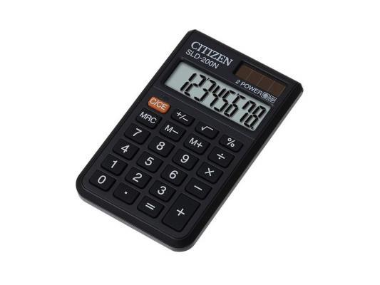 Калькулятор Citizen SLD-200N двойное питание 8 разряда карманный черный калькулятор научный citizen srp 145n 8 2 разряда черный 86 функций питание от батареи арт srp145n