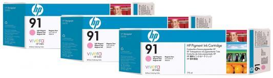 Струйный картридж HP C9486A №91 светло-пурпуный для HP DJ Z6100 3шт. картридж hp c9481a 91 для hp dj z6100 черный 3шт