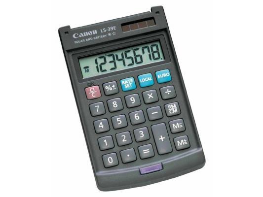 Калькулятор Canon LS-39E двойное питание 8 разряда карманный с жесткой защитной крышкой темно-серый