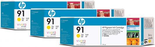 Струйный картридж HP C9485A №91 желтый для HP DJ Z6100 3шт. картридж hp c9483a 91 для hp dj z6100 голубой 3шт