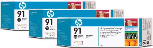 Струйный картридж HP C9481A №91 черный для HP DJ Z6100 3шт. картридж hp c9483a 91 для hp dj z6100 голубой 3шт