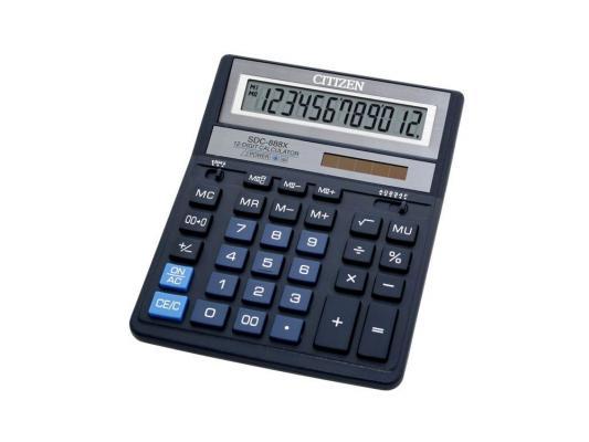 Калькулятор Citizen SDC-888XBL двойное питание 12 разряда бухгалтерский синий монитор aoc g2260vwq6 black