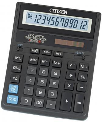 Калькулятор бухгалтерский Citizen SDC-888TII 12-разрядный черный калькулятор citizen sdc 888tii