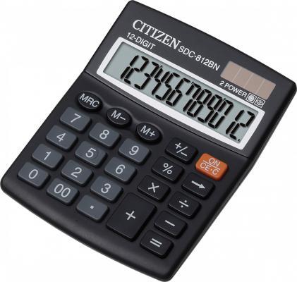 Калькулятор настольный Citizen SDC-812BN 12-разрядный черный citizen настольный калькулятор sdc 660ii