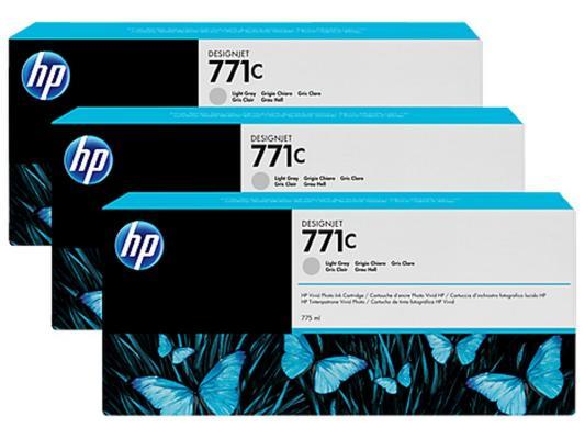 Струйный картридж HP B6Y38A №771С серый для HP Designjet Z6200 3шт. hp designjet t830 36 f9a30a