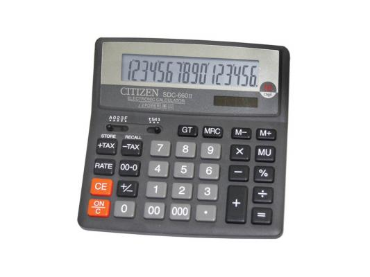 Калькулятор Citizen SDC-660II двойное питание 16 разряда бухгалтерский черный