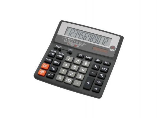 Калькулятор Citizen SDC-620II двойное питание 12 разряда бухгалтерский черный
