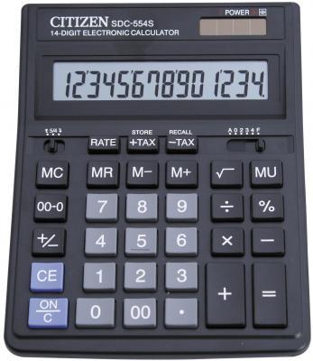 Калькулятор бухгалтерский Citizen SDC-554S 14-разрядный черный калькулятор citizen sdc 554s
