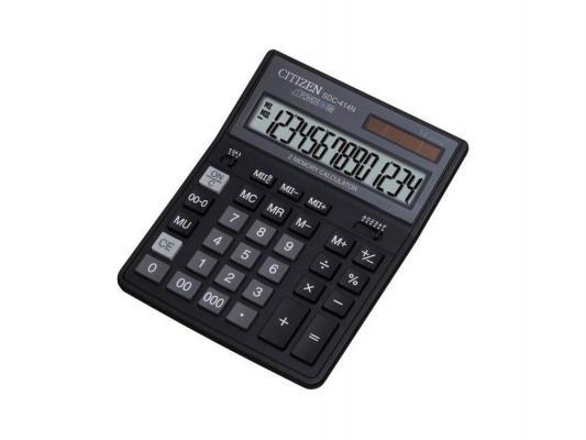 Калькулятор Citizen SDC-414N двойное питание 14 разряда бухгалтерский черный