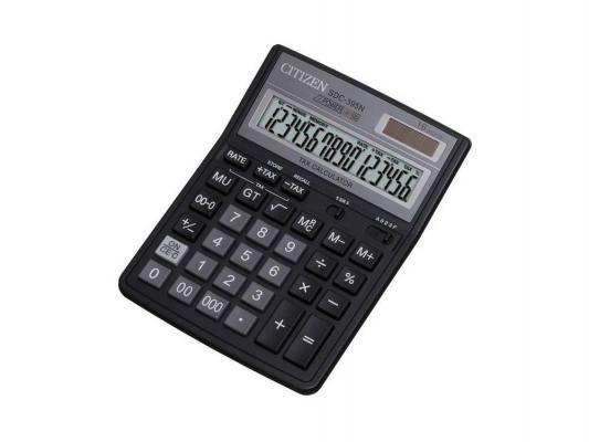 Калькулятор Citizen SDC-395N двойное питание 16 разряда бухгалтерский черный