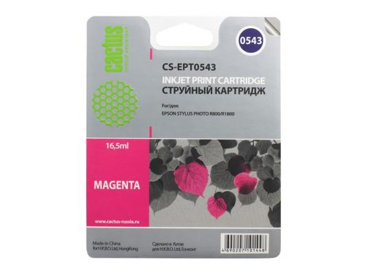 Струйный картридж Cactus CS-EPT0543 пурпурный для Epson Stylus Photo R800/R1800 450стр. картридж epson t009402 для epson st photo 900 1270 1290 color 2 pack