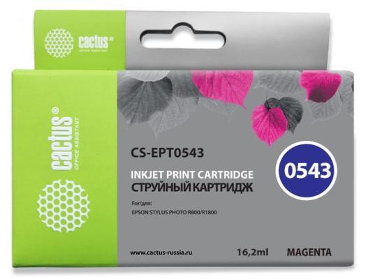 Струйный картридж Cactus CS-EPT0543 пурпурный для Epson Stylus Photo R800/R1800 450стр. cactus cs ept347 gray картридж струйный для epson stylus photo 2100