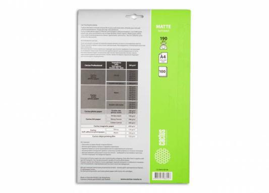 Фотобумага Cactus CS-MA4190100 A4/190г/м2/100л. матовая для струйной печати фотобумага cactus cs ga4200100 a4 200г м2 100л белый