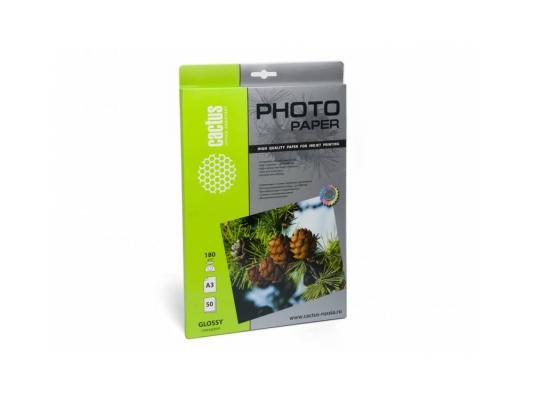 Фотобумага Cactus CS-GA318050 глянцевая А3 180 г/м2 50 листов фотобумага cactus cs ga6180500 глянцевая 10x15 180 г м2 500 листов