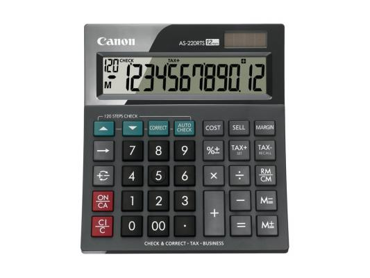 Калькулятор Canon AS-220RTS 12 разряда настольный наклонный дисплей налог бизнес черный