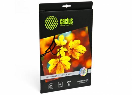 Фотобумага Cactus CS-HGA426020 Professional суперглянцевая А4 260 г/м2 20 листов