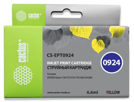 Струйный картридж Cactus CS-EPT0924 желтый для Epson Stylus C91/CX4300/T26/T27/TX106/TX109 500стр. принтер струйный epson l312