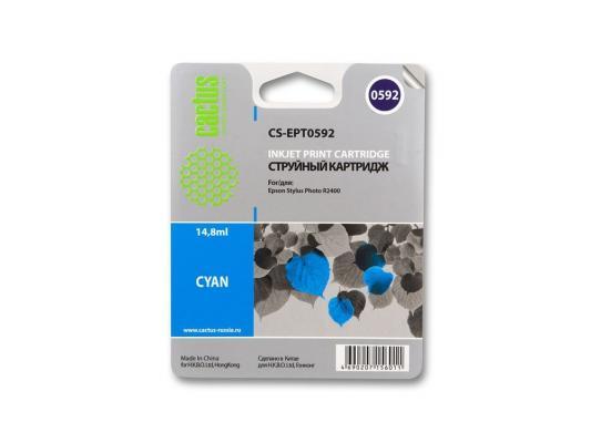 Струйный картридж Cactus CS-EPT0592 голубой для Epson Stylus Photo R2400 560стр.