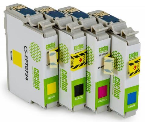 Струйный картридж Cactus CS-EPT0735 цветной для Epson Stylus С79/C110/СХ3900/CX4900 4шт. картридж cactus cs ept0735 для epson stylus с79 c110 сх3900 cx4900 цветной 270стр 4шт