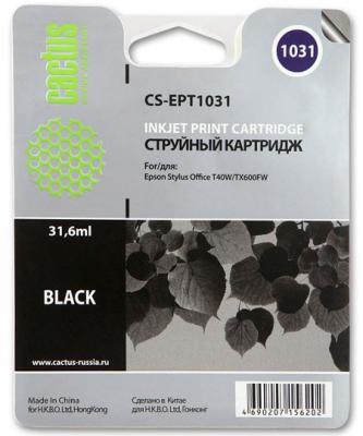 Струйный картридж Cactus CS-EPT1031 черный для Epson Stylus Office T40/T40w/TX600/TX600fw 1000стр. картридж cactus cs ept1634 для epson wf 2010 2510 2520 2530 2540 2630 2650 2660 желтый