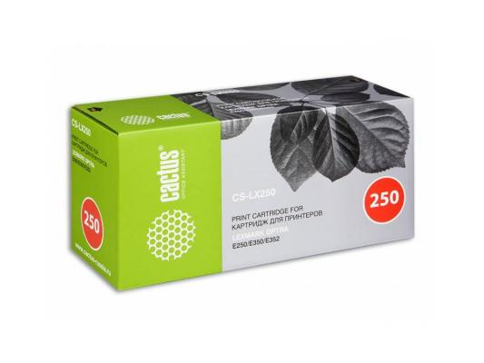 Лазерный картридж Cactus CS-LX250 черный для Lexmark Optra E250/E350/E352 3500стр. картридж совместимый для лазерных принтеров cactus cs e260 e260a21e черный для lexmark optra e260 e360 e460 3500стр cs e260