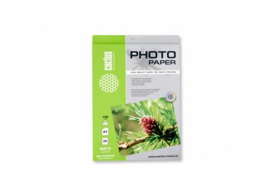 Бумага самоклеящаяся Cactus CS-MSA310020 А3 100г/м2 матовая 20 листов бумага cactus cs msa410020 а4 100г кв м матовая самоклеящаяся 20л