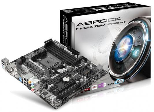Мат. плата ASRock FM2A78M PRO4+ <SFM2, AMD A78, 4*DDR3, 3*PCI-E16x, SVGA, DVI, HDMI, SATA, GB Lan, mATX, Retail>