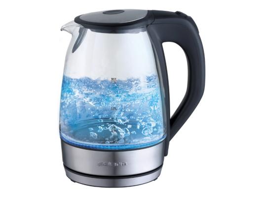 Чайник Polaris PWK 1729CGL 2200 Вт 1.7 л металл/стекло чёрный чайник polaris pwk 1749ca 2200 вт бордовый 1 7 л нержавеющая сталь