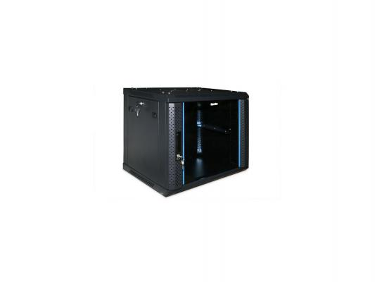 """Шкаф настенный 19"""" 6U Hyperline TWFS-0645-GP-RAL9004 367x600х450мм стеклянная дверь с перфрацией по бокам ручка с замком черный разобранный"""