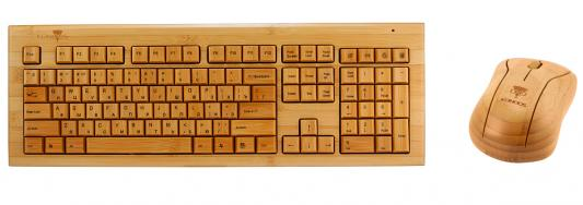все цены на Клавиатура + Мышь KONOOS BAMBOOK KBKM-01 беспроводные Натуральный бамбук, USB онлайн