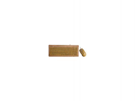 Клавиатура + Мышь KONOOS BAMBOOK KBKM-01 беспроводные Натуральный бамбук, USB