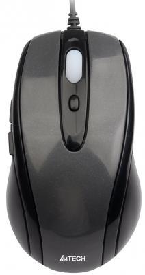 Мышь проводная A4TECH N-708X-1 V-Track Padless чёрный серый USB мышь проводная a4tech n 600x 2 v track padless серый чёрный usb